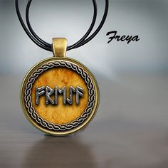 Norse Gods Loki Freya Odin and Thor Written in Rune Bronze Pendant with Leather Cord