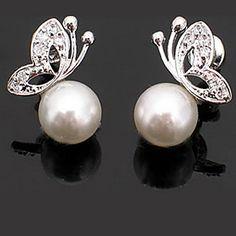 Graceful Alloy With Pearl Butterfly Shaped Women's Earrings – USD $ 1.95