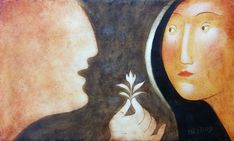 Annunciation by Bulgarian artist Julia Stankova ! 2009 painting on wood panel