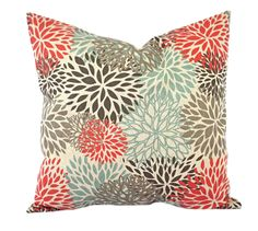 """One Blooms pillow cover, Coral Pillow, Blue Pillow, Grey Pillow, Floral Pillow, 14"""", 16"""", 18"""" 20"""", decorative pillow, throw pillow by ThatDutchGirlPillows on Etsy"""