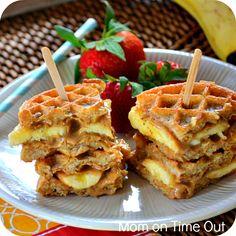 Peanut butter and banana waffle sandwich