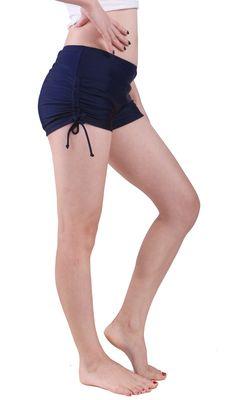 035a957f319 Women Swim Brief with Ties- Mini Boy Short Bikini Bottoms Swimsuit Separates  (Navy Blue