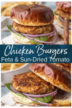 Chicken Burgers with Feta and Sun-Dried Tomato are one of my favorite healthy recipes to throw on the grill. I'm living for this grilled chicken burger recipe! Make these Ground Chicken Burgers by gri Chicken Patty Recipes, Ground Chicken Recipes, Grilled Chicken Recipes, Grilled Meat, Chicken Burgers Healthy, Ground Chicken Burgers, Chicken Patties, Burger Recipes, Meat Recipes