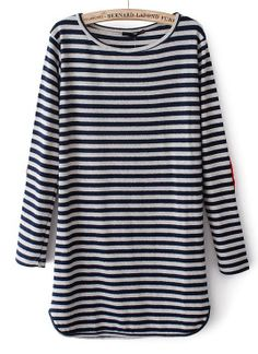 Blue Long Sleeve Striped Straight Dress US$23.77