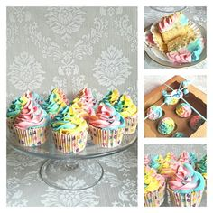 Freshly baked rainbow buttercream cupcakes delicious and sooooo pretty