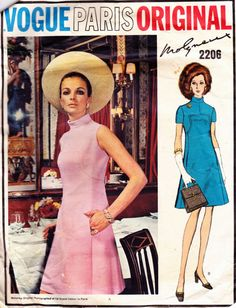 PATTERN Vogue 2206 A-line dress front seaming bias stand up collar inset pockets back button belt Size 12 Molyneux Paris Original