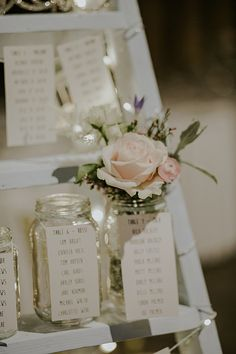 Alternative option for table plan - jars with water in ready for the pew end posies?