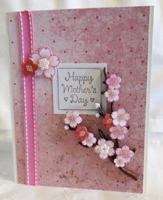 Handmade Mother's Day Card Pink with Flowery Vine | luvncrafts - Cards on ArtFire
