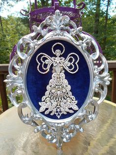 Large ! Vintage Rhinestone Jewelry Christmas Tree Framed Angel Art 16 x 12 in Jewelry & Watches, Vintage & Antique Jewelry, Costume | eBay