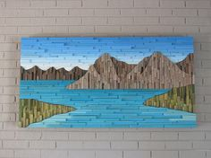 Wood wall art-mountain wood wall art-cabin decor-mountain art