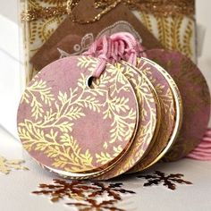 Pink & Gold floral gift tags