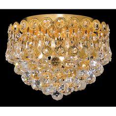 Century Clear Crystal Flush w 3 Lights in Gold (Strass Swarovski) Crystal Ceiling Light, Crystal Chandelier Lighting, Ceiling Lights, Dining Chandelier, Chandeliers, Bathroom Light Fixtures, Candelabra Bulbs, Bedroom Lighting, Outdoor Lighting