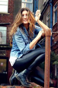 leather pants, jean jacket and combat boots