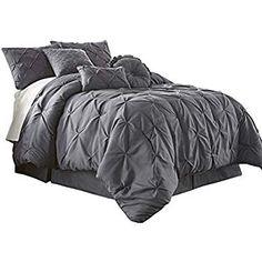 594b4015403 Amazon.com: Oxford Decorative Pinch Pleat Comforter Set, 4 Pieces,  Hypoallergenic Comforter