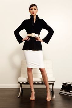 St. John Resort 2013  (White pencil skirt with a belted jacket? Wow!)