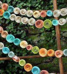 Orange, Coral, Teal & Recycled Book Page Paper Flower Garland -  Set of 4