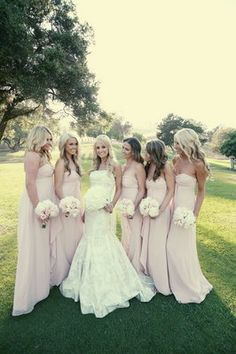 Long and flowy bridesmaid dresses.
