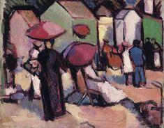 John Duncan Fergusson, The bathing huts, St. British Artist, Sale Artwork, Colorful Artwork, John Duncan, Figure Painting, Vintage Artwork, Art, Scottish Art, Scottish Colourists