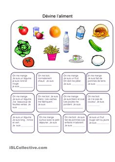 Nourriture – Devine l'aliment Food – Devine The Food Worksheet – Kostenlose FLE-Lehrblätter French Teaching Resources, Teaching French, Teaching Tools, Food In French, French Worksheets, Core French, French Classroom, French Teacher, French Immersion