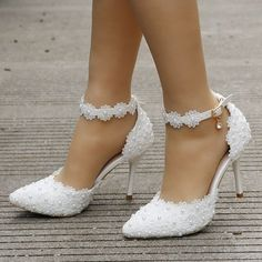 white lace wedding shoes women high heels thin heels pointed toe wedding heels
