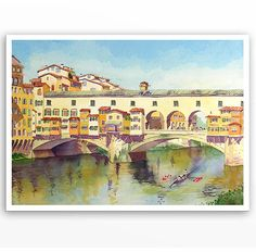 Painting of Florence Italy - CIJ - A Print of a Watercolor Painting - Ponte Vecchio, Landscape Travel Art -Your choice 5
