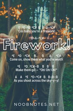 music notes for newbies: Firework – Katy Perry. Play popular songs and traditional music with note letters for easy fun beginner instrument practice - great for flute, piccolo, recorder, piano and Piano Sheet Music Letters, Clarinet Sheet Music, Easy Piano Sheet Music, Piano Music Notes, Violin Music, Guitar Songs, Acoustic Guitar, Katy Perry, Disney Piano Music