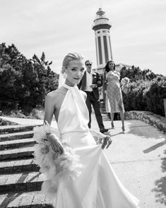 Laura Elizabeth Dale married Thomas Bowden in a colourful beach club wedding which took place in Capri, Italy. Chic Wedding, Dream Wedding, Vogue Bride, English Actresses, Vogue Australia, Custom Dresses, Tie The Knots, Beach Club, One Shoulder Wedding Dress