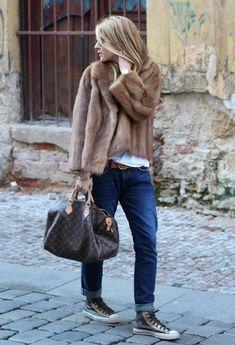 classic fur coat + sneakers