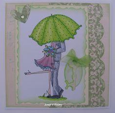 Tarjeta romántica con un sello de StampingBella, Uptown Couple Emily and Ryan under the umbrella