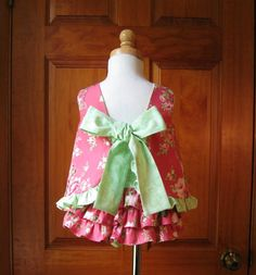 Baby girl top and ruffled bloomers pink by ForTheLoveOfSmocking, $28.00