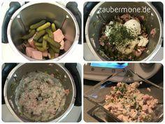 Mein Mann liebt Fleischsalat.   Da wir hier in einer Fleischwursthochburg leben (Weck, Worscht und Woi!), nehmen wir keine Wiener Würstchen...