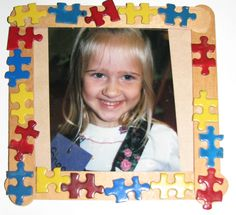 Puzzle Popsicle Stick Picture Frame