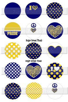 INSTANT DOWNLOAD Blank Navy Blue Gold School Mascot 2  1 inch