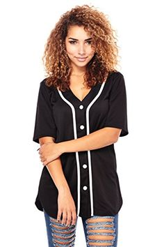 Womens Ladies Great Solid Baseball Jerseys Tees Tops Shirts S Black -- Click image for more details.Note:It is affiliate link to Amazon. #WearIT
