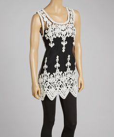 Look what I found on #zulily! White & Black Sheer Art Deco Silk-Blend Top by Pretty Angel #zulilyfinds