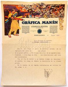 Facturas antiguas: FACTURA LOTE DE 2 FACTURAS GRAFICA MANEN LITOGRAFIA GENERAL IMPRENTA RECLAMOS. BARCELONA 1925 - 1927 - Foto 3 - 67441589