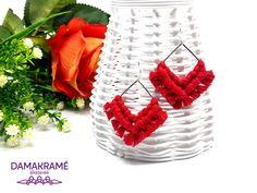 Diamant makramé fülbevaló – piros – DAMAKRAMÉ