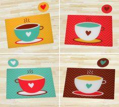 Tazas de café para decorar tu mesa. Individuales muy coloridos para alegrar tu desayuno. http://www.happyhome.com.co/individuales-y-portavasos/individual-portavaso-set-x-4-coffee-love/