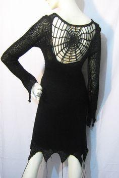 Queen Of Darkness Gothic Spider Web Dress/Top/Jumper Size 10 Goth/Vampire/Punk | eBay