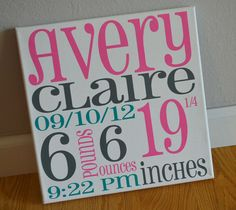 Birth Announcement Painted Canvas Subway Art by MakeitStickDesigns, $25.00