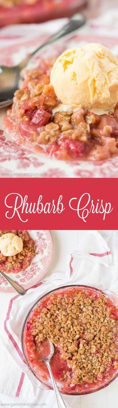 Pick up some rhubarb at the Farmers Market and enjoy a warm summer night out on the porch with a bowl of Rhubarb Crisp and ice cream.