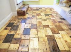 A wooden pallet floor gives the impression of a very stylish and fashionable room. When different types, sizes, and shades of pallets of wood are used the floor looks astonishing.