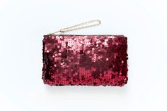 RUBY Red Sequin Mini Clutch. Sequin Make Up Bag