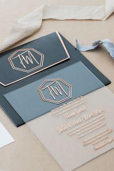 Industrial Glam Wedding Inspiration Art Deco wedding invitations - photo by Alexis June Weddings ruf Art Deco Wedding Invitations, Acrylic Wedding Invitations, Wedding Stationary, Wedding Invitation Cards, Wedding Cards, Invitation Wording, Diy Wedding, Invitation Ideas, Trendy Wedding