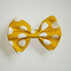 Mustard dots bow by ByrdieNestDesigns on Etsy
