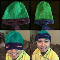 Knitting Pattern  Teenage Mutant Ninja Turtle Hat  Adult Size ae19d18807