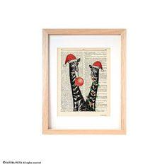 Funny Giraffe Christmas dictionary print-Funny by naturapicta