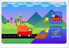 """""""Transportes"""" es un juego, dentro de la aplicación """"Conexiones"""" de tudiscoverykids.com, en el que se elige el medio de transporte adecuado para trasladarse en cada medio (terrestre, acuático, aéreo). Contiene también otros dos juegos sobre constelaciones y robots."""