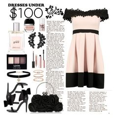 """""""Dress under $100"""" by mizzura ❤ liked on Polyvore featuring Boohoo, Miss Selfridge, Betsey Johnson, Accessorize, Kenneth Jay Lane, NYX, Too Faced Cosmetics, philosophy, Burberry and Marc Jacobs"""