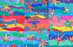 Working on the warm and cool colors we painted these starfish with pupils in the sixth grade (11 year-old), using tempera colors. Each student chose whether painting the starfish in warm colors and...
